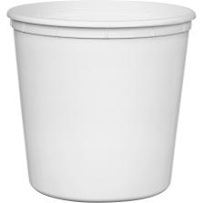190 oz. White HDPE Plastic Round Container, L811