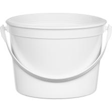 64 oz. (1/2 Gallon) White HDPE Plastic Round Container w/ Plastic Handle, L607