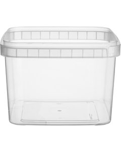 48 oz. (1.5 Liter) Clear PP Tamper Evident Square Container, 145mm 145-TE
