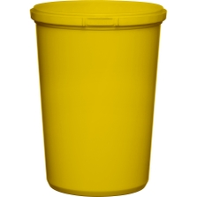 32 oz. Yellow PP Plastic Round Tamper Evident Container, 110mm
