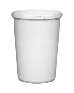 32 oz. Whxite PP Plastic Round Tamper Evident Container, 110mm