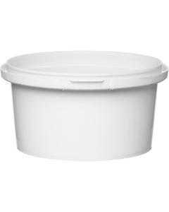 7 oz. White PP Plastic Round Tamper Evident Container, 89mm