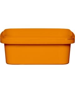 8 oz. Orange PP Plastic Square Tamper Evident Container, 105mm