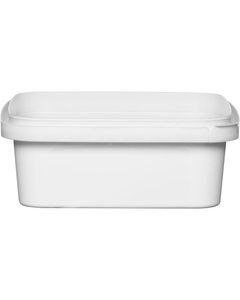 8 oz. (250 ml) White PP Square Tamper Evident Container, 105mm 105-TE