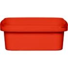 8 oz. Red PP Plastic Square Tamper Evident Container, 105mm