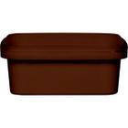 8 oz. Brown PP Plastic Square Tamper Evident Container, 105mm