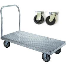 "30"" x 48"" Aluminum Platform Truck, Treadplate, 5"" x 1.5"" Polyolefin Casters, 750 lb. Capacity"