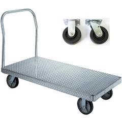 "30"" x 48"" Aluminum Platform Truck, Treadplate, 5"" x 2"" Polyolefin Casters, 2,000 lb. Capacity"