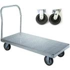 "30"" x 48"" Aluminum Platform Truck, Treadplate, 6"" x 2"" Polyolefin Casters, 2,000 lb. Capacity"