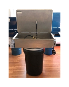 Stainless Steel Drum Mounted Aqueous Parts Washer, Recirculating, Flow-Thru Brush Assembly w/30 Gallon Drum