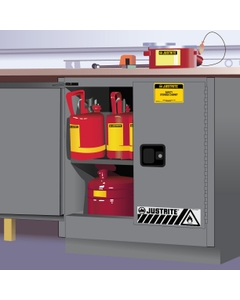 Sure-Grip® EX Undercounter Flammable Safety Cabinet, 22 Gallon, M/C Doors, Gray