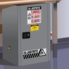 Sure-Grip® EX Compac Flammable Safety Cabinet,12 Gallon, S/C Door, Gray
