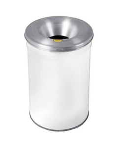 30 Gallon White Cease-Fire® Waste Receptacle Safety Drum Can w/Aluminum Head