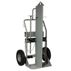 "Double Gas Cylinder Hand Truck w/Firewall & Hoist Ring, 16"" Pneumatic Wheels, Tool Box (Tools)"