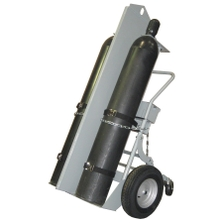 """Double Gas Cylinder Hand Truck w/ Firewall & Hoist Ring, 16"""" Pneumatic Wheels, Rear Casters, Tool Box (Tools)"""