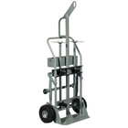 """Double Gas Cylinder Hand Truck w/Hoist Ring, 10.5"""" Pneumatic Wheels, Rear Casters, Tool Tray (Tools)"""