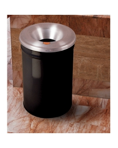 12 Gallon Black Cease-Fire® Waste Receptacle Safety Drum Can w/Aluminum Head