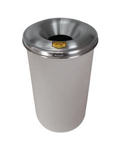 12 Gallon White Cease-Fire® Waste Receptacle Safety Drum Can w/Aluminum Head