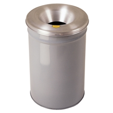 15 Gallon Gray Cease-Fire Waste Receptacle, Safety Drum Can with Aluminum Head