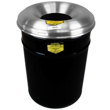 15 Gallon Black Cease-Fire® Waste Receptacle Safety Drum Can w/Aluminum Head