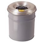 4.5 Gallon Gray Cease-Fire® Ash/Cigarette Receptacle Drum w/Aluminum Head, Grill Guard