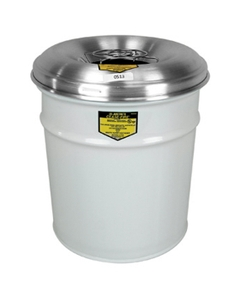 4.5 Gallon White Cease-Fire® Ash/Cigarette Receptacle Drum w/Aluminum Head, Grill Guard