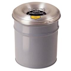 6 Gallon Gray Cease-Fire® Ash/Cigarette Receptacle Drum w/Aluminum Head, Grill Guard