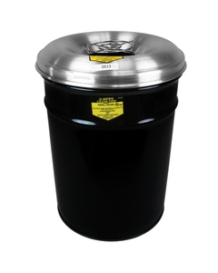6 Gallon Black Cease-Fire® Ash/Cigarette Receptacle Drum w/Aluminum Head, Grill Guard