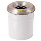 6 Gallon White Cease-Fire® Ash/Cigarette Receptacle Drum w/Aluminum Head, Grill Guard