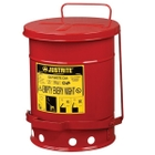 6 Gallon Red Oily Waste Can, Foot Operated Self-Closing Cover
