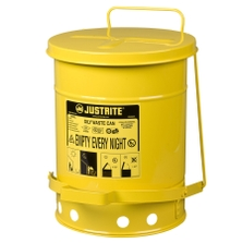 6 Gallon Yellow Oily Waste Can, Foot Operated Self-Closing Cover