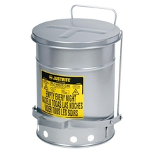 6 Gallon Silver Oily Waste Can, Foot-Operated Self-Closing SoundGard™ Cover