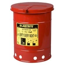 6 Gallon Red Oily Waste Can, Hand-Operated Cover