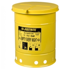 6 Gallon Yellow Oily Waste Can, Hand-Operated Cover