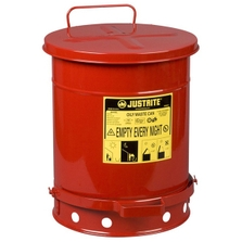 10 Gallon Red Oily Waste Can, Foot-Operated Self-Closing Cover