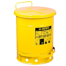 10 Gallon Yellow Oily Waste Can, Foot-Operated Self-Closing Cover