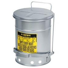 14 Gallon Silver Oily Waste Can, Foot-Operated Self-Closing SoundGard™ Cover