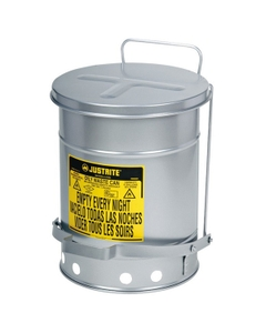 10 Gallon Silver Oily Waste Can, Foot-Operated Self-Closing SoundGard™Cover