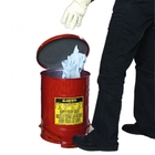 10 Gallon Red Oily Waste Can, Foot-Operated Self-Closing SoundGard™ Cover
