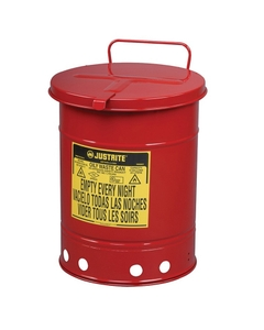 10 Gallon Red Oily Waste Can, Hand-Operated Cover