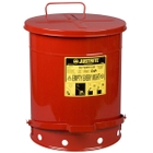 14 Gallon Red Oily Waste Can, Foot-Operated Self-Closing Cover
