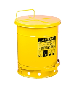 14 Gallon Yellow Oily Waste Can, Foot-Operated Self-Closing Cover