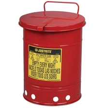 14 Gallon Red Oily Waste Can, Hand-Operated Cover