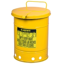 14 Gallon Yellow Oily Waste Can, Hand-Operated Cover