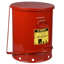 21 Gallon Red Oily Waste Can, Foot-Operated Self-Closing Cover