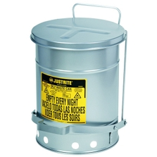 21 Gallon Silver Oily Waste Can, Foot-Operated Self-Closing SoundGard™ Cover