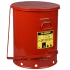 21 Gallon Red Oily Waste Can, Foot-Operated Self-Closing SoundGard™ Cover