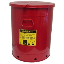 21 Gallon Red Oily Waste Can, Hand-Operated Cover