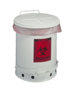 6 Gallon White Biohazard Waste Can, Foot-Operated Self-Closing Cover