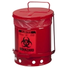 6 Gallon Red Biohazard Waste Can, Foot-Operated Self-Closing Cover